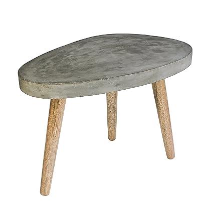 """SIT-Möbel 9968-13 Couchtisch """"Cement"""", B/T/H: ca. 60 x 37 x 43 cm, Beine Eiche, Platte Leichtbeton, grau"""
