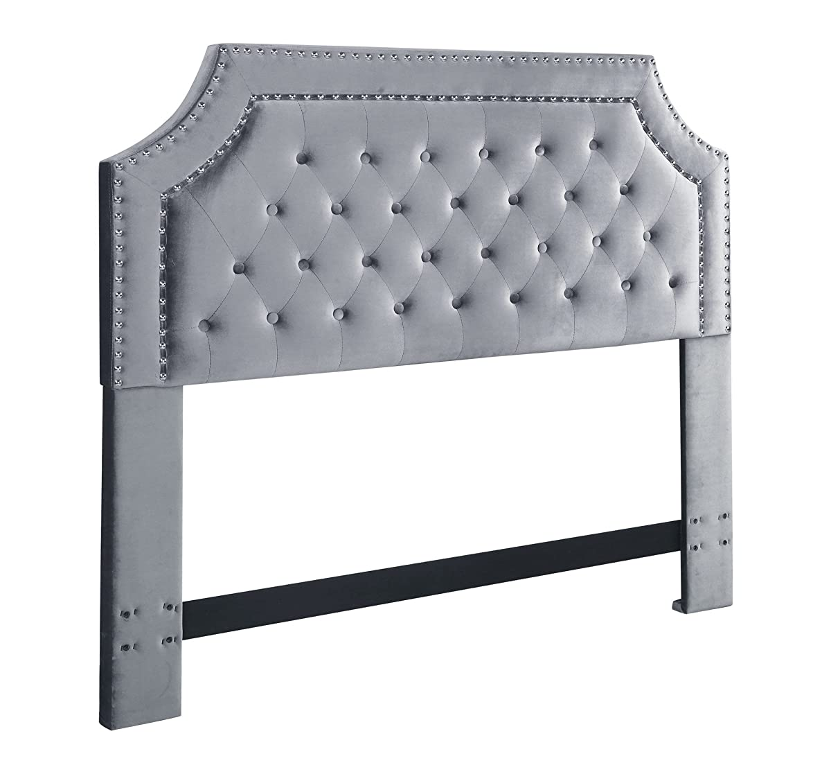 Iconic Home FHB9021-AN Chava Headboard Velvet Upholstered Button Tufted Double Row Silver Nailhead Trim Modern Transitional Full Queen, Grey