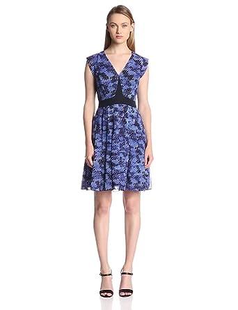 Rebecca Taylor Women's Sleeveless Summer Storm Print Pleated Dress, Navy Combo, 0