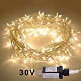 JMEXSUSS 100LED 49.2ft Indoor String Light Christmas Lights Fairy String Lights 30V 8 Modes for Homes, Christmas Tree, Wedding Party, Bedroom, Indoor Wall Decoration (100LED, Warm White) (Color: Warm White-clear Wire, Tamaño: 100LED)
