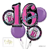 Andaz Press Balloon Bouquet Party Kit with Gold Cards & Gifts Sign, Bouquet Sweet 16, 1-Set (Color: Birthday Sweet 16)