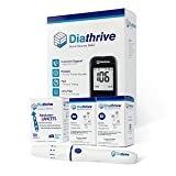 Diathrive Diabetes Blood Sugar Kit – Diathrive Blood Glucose Meter, 100 Blood Test Strips, 1 Lancing Device, 30 Gauge Lancets-100 Count, Control Solution, Logbook, and Carrying Case