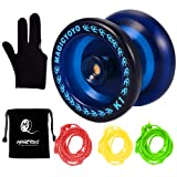 MAGICYOYO Responsive YoYo K1-Plus Yoyo Sack + 3 Strings Yo-Yo Glove Gift (Blue) (Color: Blue)