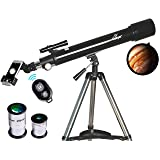 Telescope, Astronomy Refractor Telescopes, 70mm Apeture Scope 700mm AZ Mount for Astronomy Beginners with Tripod & Smartphone Adapter & Wireless Camera Remote (Tamaño: AZ70700)