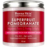 Pomegranate Brightening Face & Body Scrub - Renews Your Skin's Youthful Radiance   Great For Dry Skin, Age Spots, Hyperpigmentation, Acne Flare-Ups and Acne Scars 10oz By Buena Skin