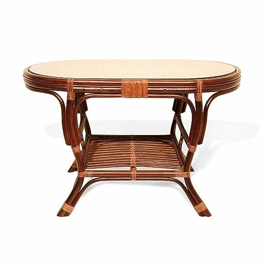 Pelangi Rattan Wicker Handmade Oval Coffee Table with Glass (Dark Brown)
