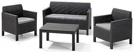 Allibert Lounge Set Orlando big table, Grau, 4-teilig