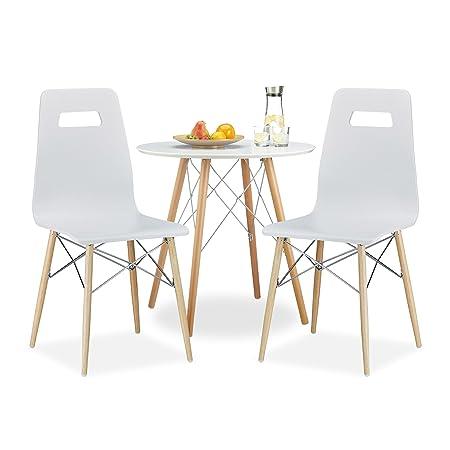 3 tlg. Esszimmer Set ARVID, 2 Esszimmerstuhle, Kuchentisch rund, Esstisch aus Holz, Sitzgruppe, Holztisch, Stuhl, weiß