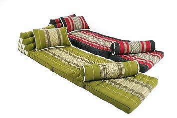 Thai Triangle Mats and Pillows Mix Set 100% Kapok Filling Thai Fabric (Bamboogreen & Burgundy&Black)