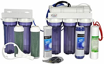 6-Stage Aquarium Reef Reverse Osmosis Water Filter System-RO/DI | 100 GPD MEMBRANE + MANUAL FLUSH KIT | NSF/Water Quality Tested-Made in USA | LiquaGen