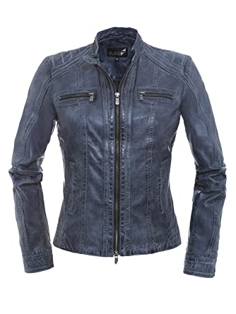 Jilani Betty Trendige Damen Lederjacke in Black Iris