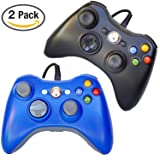 FSC Mixed Pack of 2 USB Wired Game Pad Controller for Use With Xbox 360, Windows 10 5 Colors (Black/Blue)