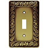 Franklin Brass 64049 Paisley Single Toggle Switch Wall Plate/Switch Plate/Cover, Tumbled Antique Brass (Color: Tumbled Antique Brass, Tamaño: Single)
