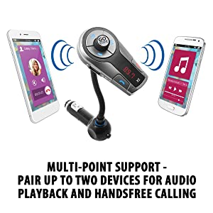 GOgroove FlexSMART X2 ADVANCED Wireless In-Car Bluetooth FM Transmitter with Charging, Music Control and Hands-Free Calling for ANDROID, iPhone, Black