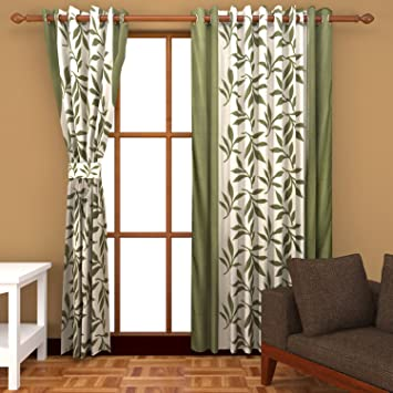 Green Curtains amazon green curtains : Buy Freehomestyle Floral Window Curtains- Green (Set of 3) Online ...