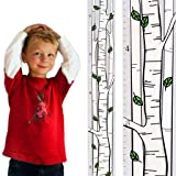 Growth Chart Art | Wooden Birch Tree Growth Chart for Kids [Boys and Girls] - Kids Room Décor Height Chart in 3X Fun Designs - Durable, Portable Birch Tree Décor (Green Leaf Wide) (Color: Green Leaf Wide, Tamaño: Single birch green leaf)