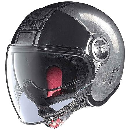 Nolan n 21 forme vISOR casque demi-jet scratched couleur :  chrome/noir, dimensions :  2XL
