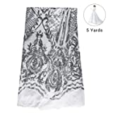 NJHG 5 Yards Lace Fabric Gorgeous Embroidery Fabric Decorated by Qualified Shiny Sequins/Spangles for Wedding/Party Dress (Color: Pattern 5-silver, Tamaño: 5 Yards)