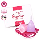 Rosy's Antibacterial Comfortable and Reusable Menstrual Cups (2 Sets with Aluminum Bag)- Effective Tampon and Pad Alternative, Eco-Friendly and Affordable - Size Large, Purple and Pink