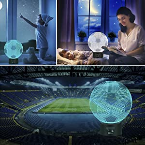 Soccer 3D LED Night Light Touch Table Desk Optical Illusion Lamps, Elstey 7 Color Changing Lights with Acrylic Flat & ABS Base & USB Charger