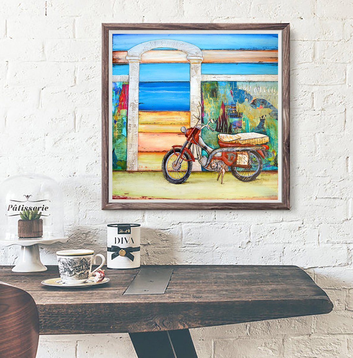 Pit Stop - Danny Phillips art print, UNFRAMED, motorcycle, beach, carribean Inspired funky retro vintage mixed media art wall & home decor poster, ALL SIZES	 1