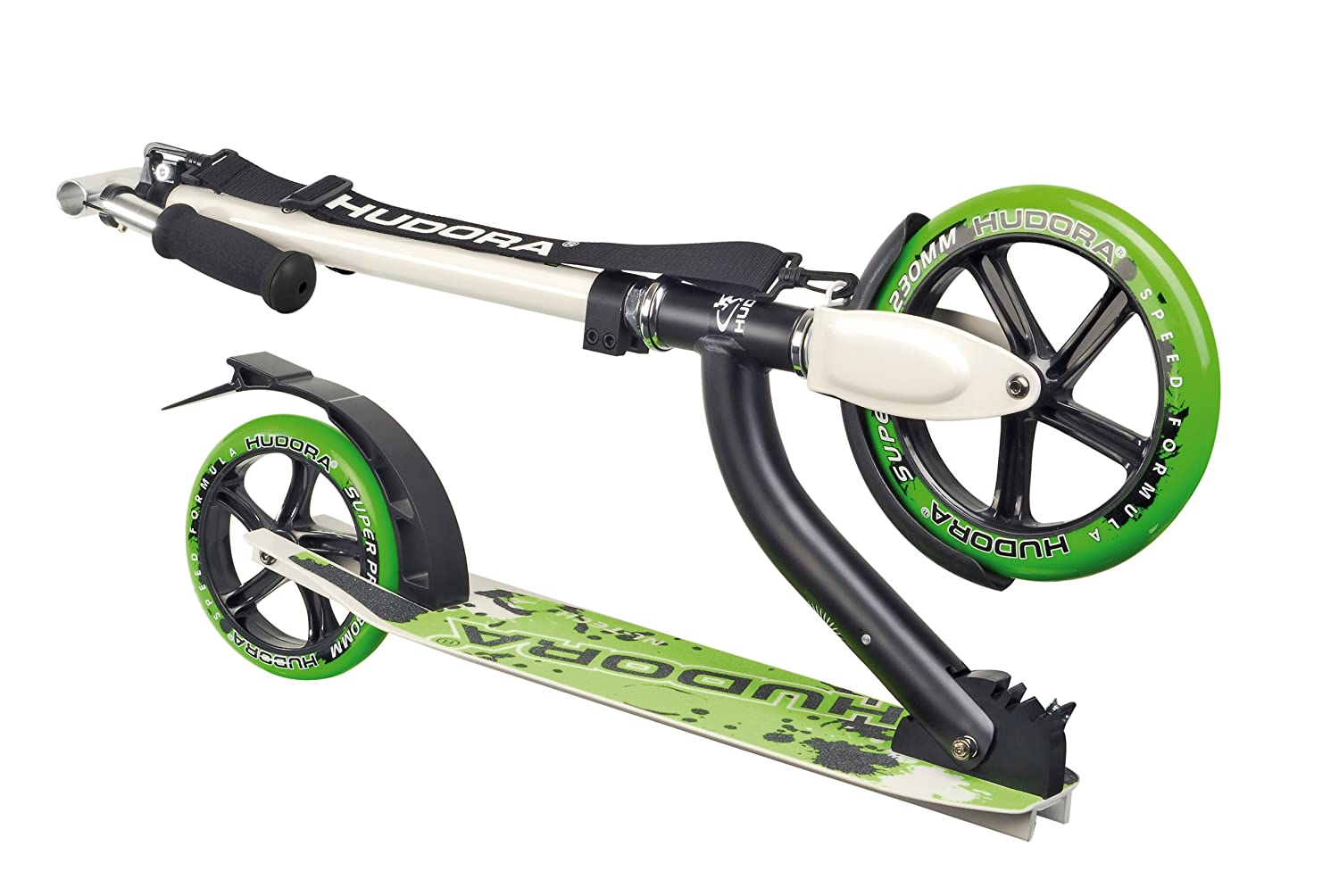Patinete color verde y plateado. Hudora Bold Wheel