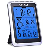 OTAO Digital Hygrometer Indoor Thermometer Humidity Meter Temperature Humidity Gauge Alarm Clock Voice Control Backlight Room Thermometer Humidity Mon