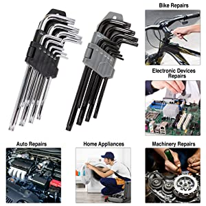 Torx Wrench 18 Piece Set (9 Tamper Proof Security Wrenches & 9 Classic Star Key Set) Long Arm T10-T-50 - S2 Industrial Steel (Tamaño: Torx Wrench Set)