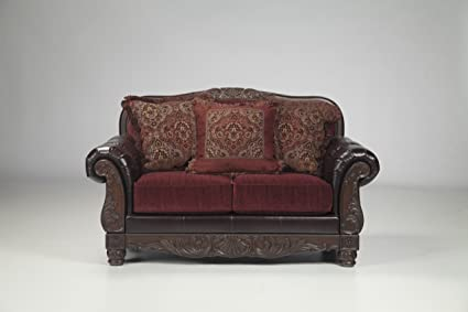 Weslynn Place Burgundy Collection Two Tone Finish Traditional Style Loveseat