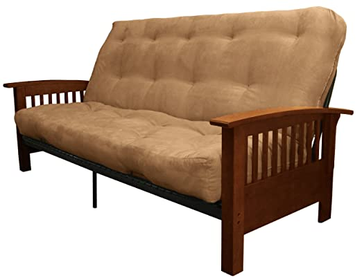 Epic Furnishings Morris Mission-Style Microfiber Suede Futon Sofa Sleeper Bed, Walnut Frame, Queen, Mocha Brown