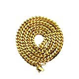 LOVEBLING 14K Yellow Gold 6mm Solid Miami Cuban Necklace Secure Box Lock (16 inch)
