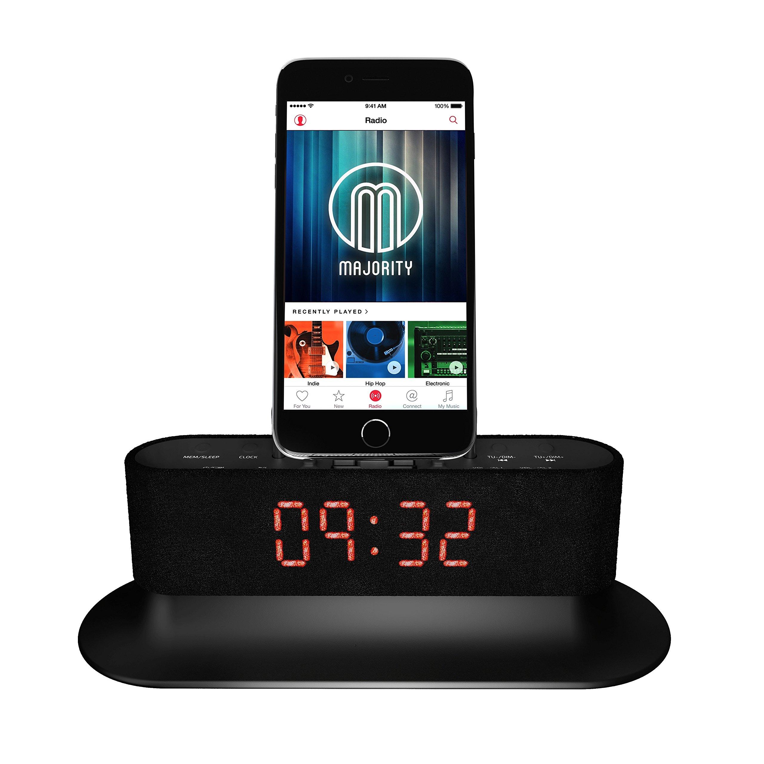 mercury speaker docking station alarm clock fm radio lightning dock for iphone 5 ebay. Black Bedroom Furniture Sets. Home Design Ideas