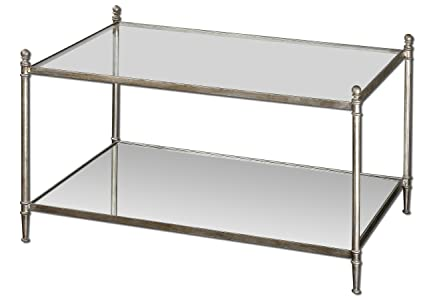 Uttermost Gannon Mirrored Glass Coffee Table with Forged Iron Frame In Antiqued Silver Leaf