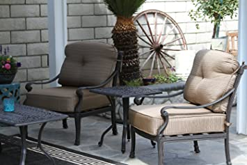 """Mandalay Cast Aluminum Powder Coated 3pc Outdoor Patio Club Chair Set with 21""""x21"""" Square Table - Antique Bronze"""
