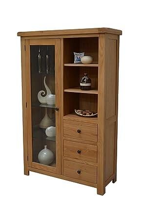 Canton Oak Glass Display Cabinet - Glazed Combination Display Unit - Living Room Furniture - Dining Room Furniture
