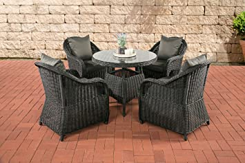 CLP Luxury Garden Dining Set FARSUND, 5 mm Round-Rattan, fully ASSEMBLED, 4 Chairs + Round Table Ø 90 cm, Cushions Included Rattan Coulour: black, Cushion: anthracite
