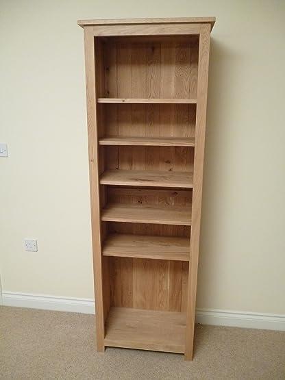 Scaffale in legno di quercia, 600 x 1800 mm, con 5 ripiani, per CD, DVD, ideale per studio o soggiorno
