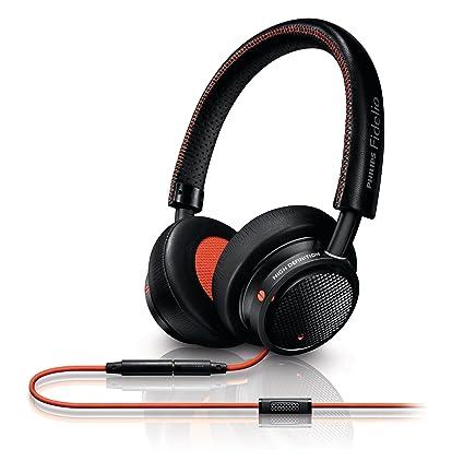 Philips Fidelio Casque Audio M1BO/00 Noir/Orange avec fonction prise d'appel et micro pour téléphone mobile