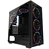 MUSETEX ATX Mid Tower PC Computer Gaming Case 6 RGB LED Fans 2 Translucent Tempered Glass,USB 3.0 Port & 2 x USB 2.0 Port,Water Cooling Radiator Support, Cable Management/Airflow,903-S6 (Color: 903-6 RGB FANS)
