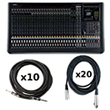 Yamaha MGP32X Mixing Console with 20 Set of Microphone Cables and 10 Set of Instrument Cables (Color: Black)