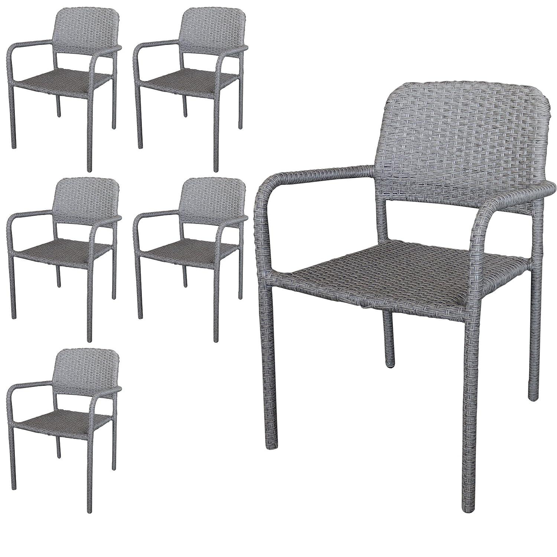 6 Stück Stapelstuhl Rattanstuhl Gartenstuhl stapelbarer Rattansessel Polyrattanbespannung in Grau – Gartenmöbel Gartensitzmöbel kaufen