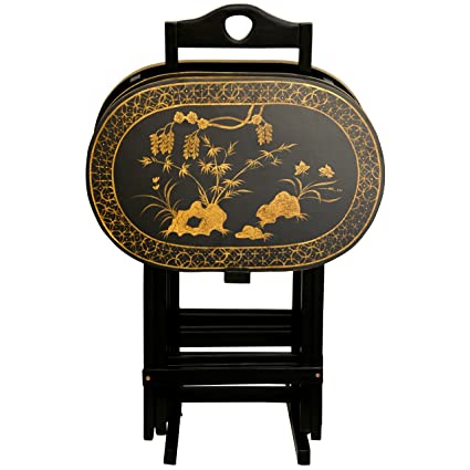 Oriental Furniture Elegant and Practical Oriental Accents, 19-Inch Tall, Set of Black Lacquer TV Tray Folding Tables with Gold Design