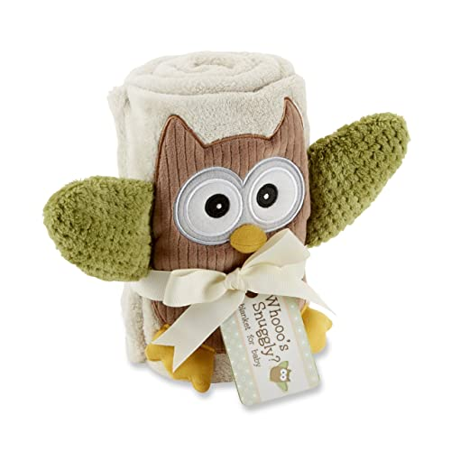 Baby Aspen My Little Night Owl Plush Velour Baby Blanket Beige One Size