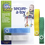 Baby Buddy 4 Piece Secure-A-Toy, Yellow/Blue/White/Green (Color: Yellow/Blue/White/Green, Tamaño: 4)