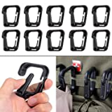 Multipurpose D-Ring Locking Hanging Hook Tactical Link Snap Keychain with Zippered Pouch for Molle Webbing by BOOSTEADY (Color: Black Pack of 10)