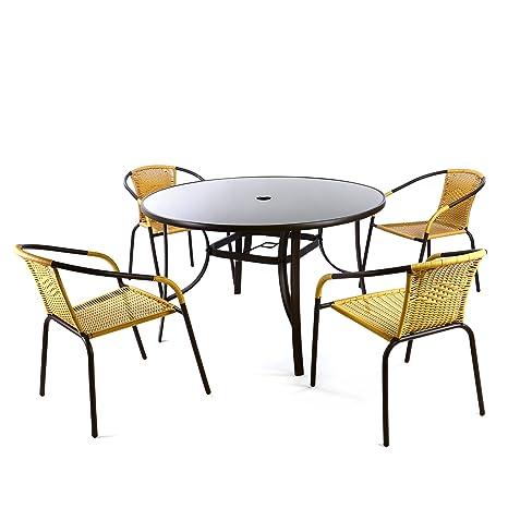 Bistroset 5tlg beige Sitzgruppe Gartengarnitur Poly Rattan Gartenmöbel 5er Set