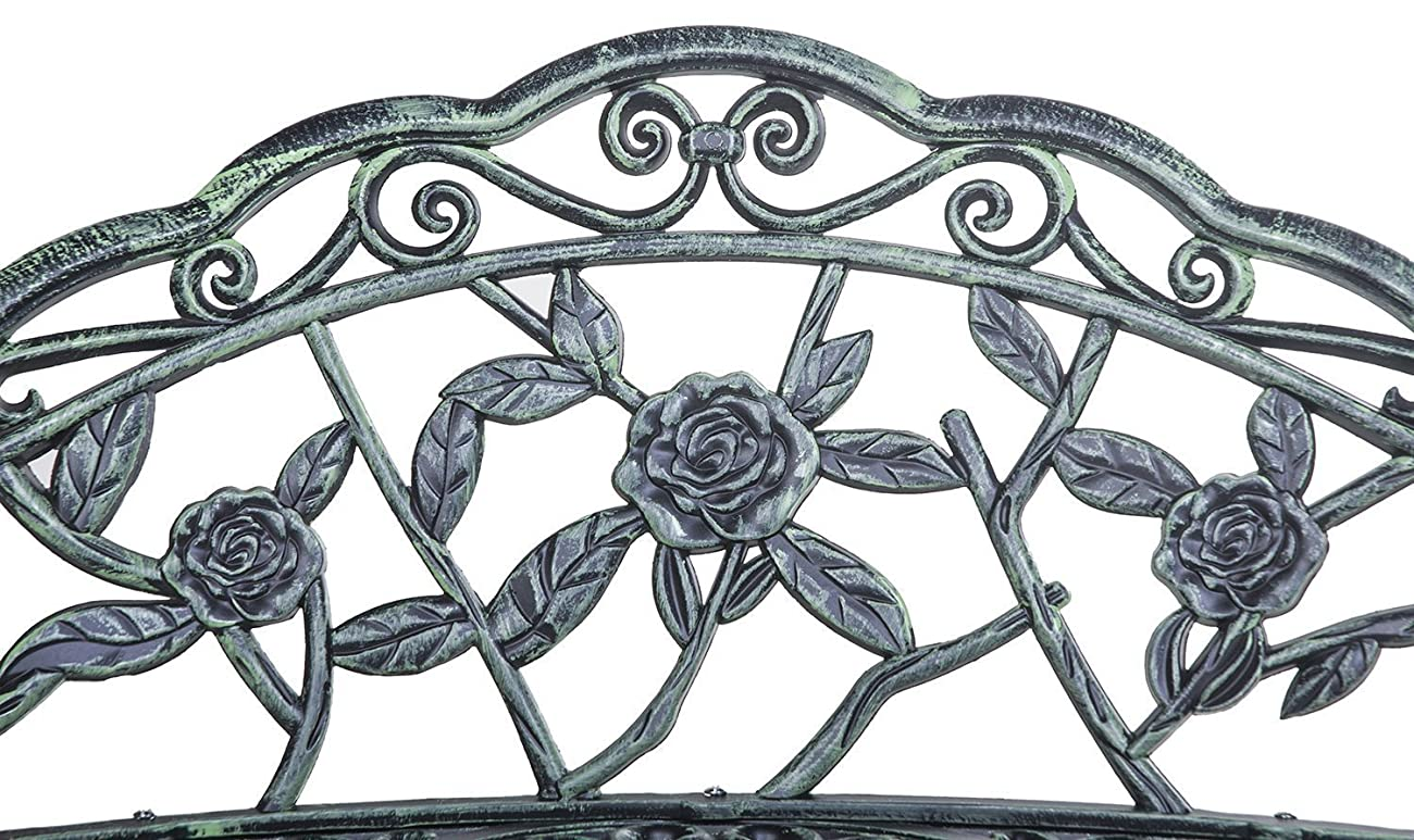 Merax Cast Iron Antique Rose Style outdoor Patio Garden Park Bench, Cast Iron 6