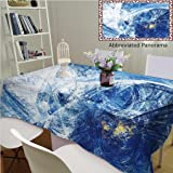 Unique Custom Cotton Blend Tablecloths Snowstorm Abstract Bright Motion Composition Modern Futuristic Dynamic Winter Background Blue Tablecovers Rectangle Tables, 48
