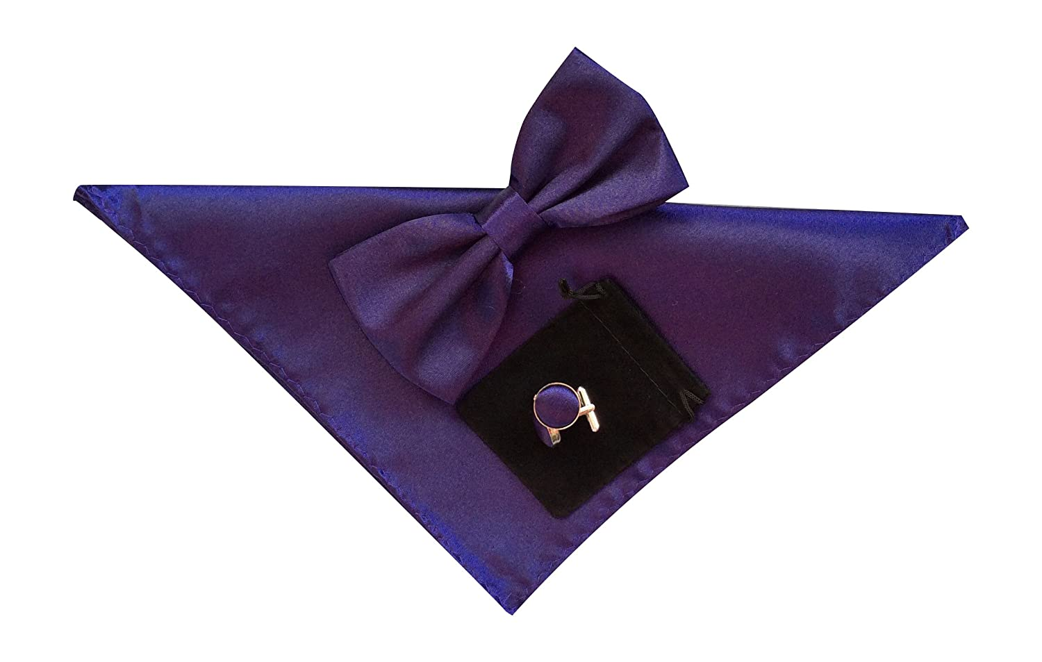 Mens Bow Tie Handkerchief and Cuff links Set Plain Purple No39 bow tie bell cuff striped tee