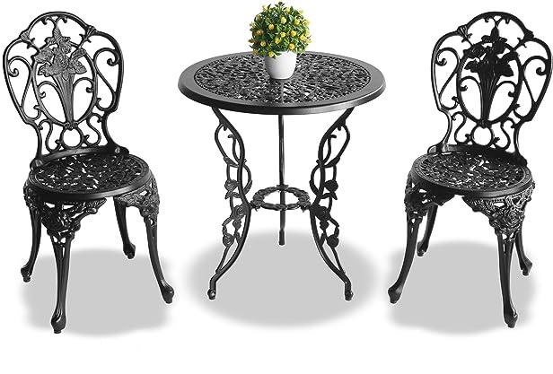 Centurion supporta Positano Garden & patio tavolo e 2sedie in alluminio pressofuso Bistro set–nero
